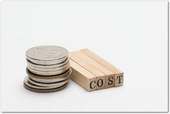 日本円の小銭とコストの文字